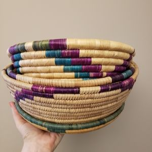 4 Vintage Woven Coil Baskets Assorted Sizes